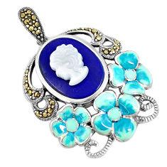 Natural blue lapis lazuli pearl enamel 925 silver lady face pendant c16680