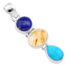 10.30cts natural lapis lazuli tourmaline rutile turquoise silver pendant t48448