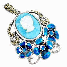 11.54cts natural blue larimar pearl enamel lady face 925 silver pendant c16663