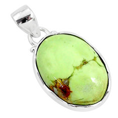 13.70cts natural lemon chrysoprase 925 sterling silver pendant jewelry r94588