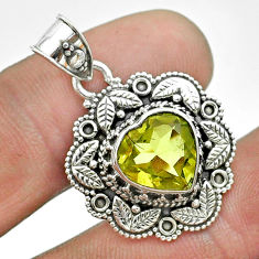 5.08cts natural lemon topaz 925 sterling silver heart pendant jewelry t56155