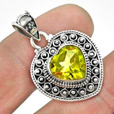 4.91cts natural lemon topaz 925 sterling silver heart pendant jewelry t56177