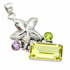 10.89cts natural lemon topaz amethyst 925 silver star fish pendant r20474