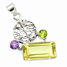 10.60cts natural lemon topaz amethyst 925 silver tree of life pendant r20466