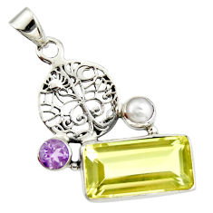9.86cts natural lemon topaz amethyst 925 silver tree of life pendant r20476