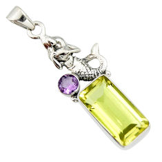 9.65cts natural lemon topaz amethyst 925 sterling silver pendant jewelry r20468