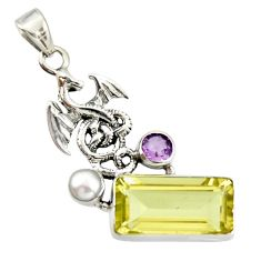 10.02cts natural lemon topaz amethyst 925 sterling silver pendant jewelry r20469