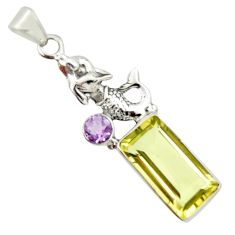 10.02cts natural lemon topaz amethyst 925 sterling silver pendant jewelry r20473