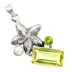 10.30cts natural lemon topaz peridot 925 silver star fish pendant r20463