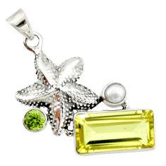 10.53cts natural lemon topaz peridot 925 silver star fish pendant r20477