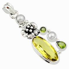 12.71cts natural lemon topaz peridot 925 sterling silver flower pendant r19112