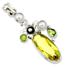 11.89cts natural lemon topaz peridot 925 sterling silver flower pendant r19113