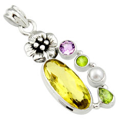 11.93cts natural lemon topaz peridot 925 sterling silver flower pendant r19116