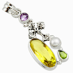 11.89cts natural lemon topaz peridot pearl 925 silver holy cross pendant r19111