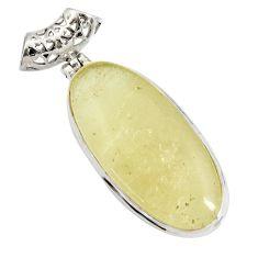 25.60cts natural libyan desert glass (gold tektite) 925 silver pendant d44222