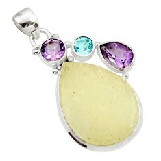 Clearance Sale- 20.65cts natural libyan desert glass (gold tektite) 925 silver pendant d45193