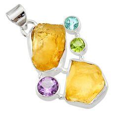 23.06cts natural libyan desert glass (gold tektite) 925 silver pendant d45200