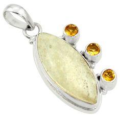 15.55cts rare genuine libyan desert glass silver pendant r34032