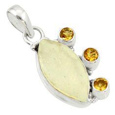 12.62cts rare genuine libyan desert glass silver pendant r34037