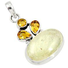 16.87cts rare genuine libyan desert glass silver pendant r34045