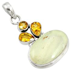 15.43cts rare genuine libyan desert glass silver pendant r34046