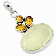 17.42cts rare genuine libyan desert glass silver pendant r34053