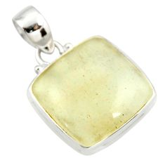 14.72cts natural libyan desert glass (gold tektite) 925 silver pendant r37801