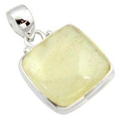 15.08cts natural libyan desert glass (gold tektite) 925 silver pendant r37802