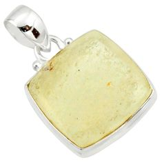 15.65cts natural libyan desert glass (gold tektite) 925 silver pendant r37810