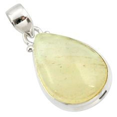 14.23cts natural libyan desert glass (gold tektite) 925 silver pendant r37814
