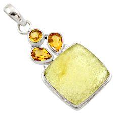 17.90cts natural libyan desert glass (gold tektite) 925 silver pendant r44481