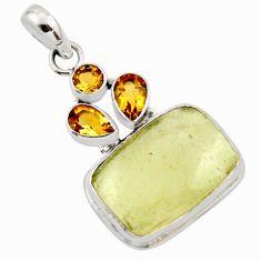17.81cts natural libyan desert glass (gold tektite) 925 silver pendant r44482