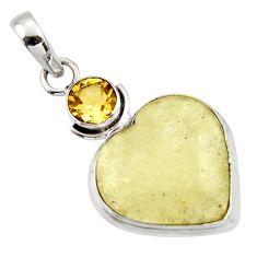 15.22cts natural libyan desert glass (gold tektite) 925 silver pendant r44483