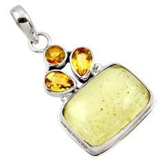 17.33cts natural libyan desert glass (gold tektite) 925 silver pendant r44484