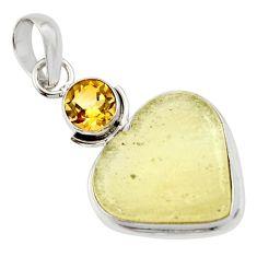 13.73cts natural libyan desert glass (gold tektite) 925 silver pendant r44486