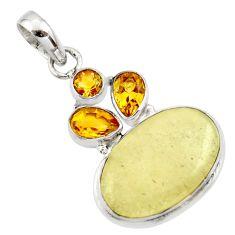 15.10cts natural libyan desert glass (gold tektite) 925 silver pendant r44488