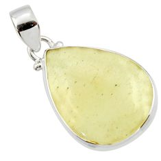 13.73cts natural libyan desert glass (gold tektite) 925 silver pendant r44489