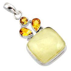 17.73cts natural libyan desert glass (gold tektite) 925 silver pendant r44492