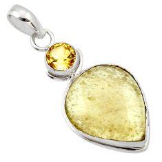 13.90cts natural libyan desert glass (gold tektite) 925 silver pendant r44493
