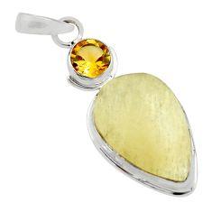 13.73cts natural libyan desert glass (gold tektite) 925 silver pendant r44495