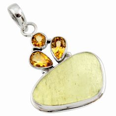 18.98cts natural libyan desert glass (gold tektite) 925 silver pendant r44497