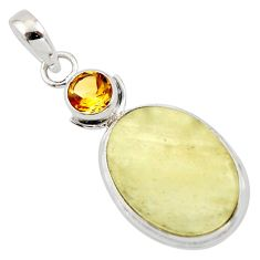 13.82cts natural libyan desert glass (gold tektite) 925 silver pendant r44498