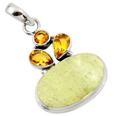 16.87cts natural libyan desert glass (gold tektite) 925 silver pendant r44499