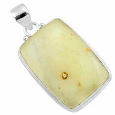 19.23cts natural libyan desert glass (gold tektite) 925 silver pendant r65918