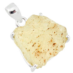 15.32cts natural libyan desert glass (gold tektite) 925 silver pendant r84394