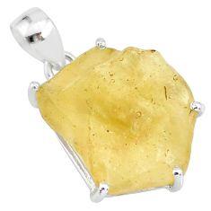 25.28cts natural libyan desert glass (gold tektite) fancy silver pendant r84369