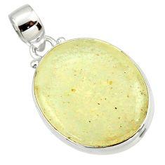 15.08cts natural libyan desert glass (gold tektite) oval silver pendant r37795