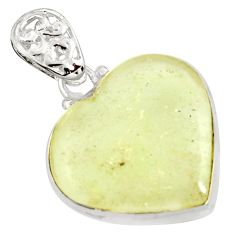 17.93cts natural libyan desert glass (gold tektite) silver heart pendant r27371
