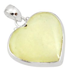 18.15cts natural libyan desert glass (gold tektite) silver heart pendant r27373