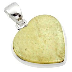 13.70cts natural libyan desert glass (gold tektite) silver heart pendant r40277
